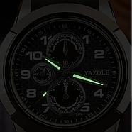 Мужские часы Yazole 350 черные с черным ремешком, фото 4