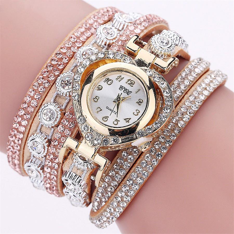 Женские часы браслет со стразами и бежевым браслетом, Жіночий наручний годинник браслет