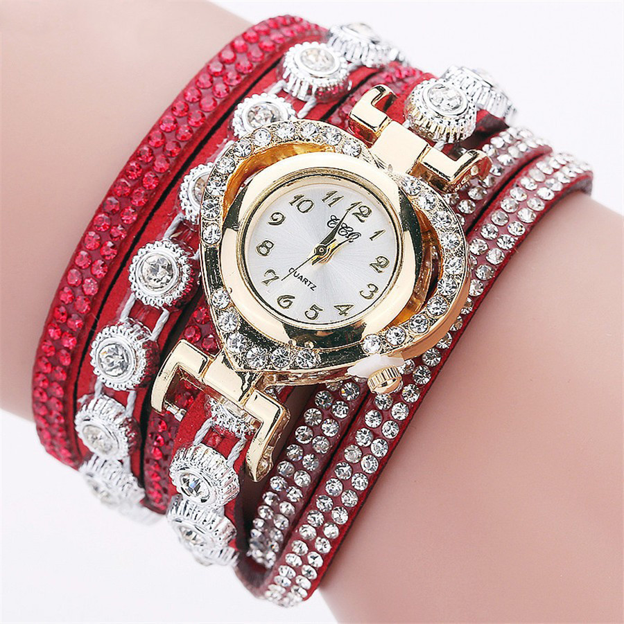 Женские часы браслет со стразами и красным браслетом, жіночий наручний годинник браслет, Наручные часы