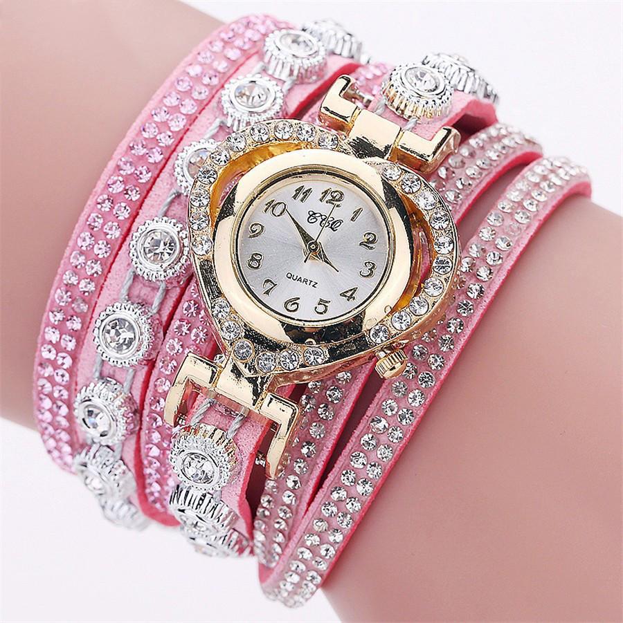 Женские часы браслет со стразами и розовым браслетом, Жіночий наручний годинник браслет, Наручные часы