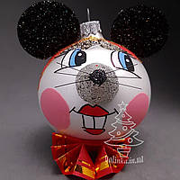 Стеклянный шар на елку Символ года Мышка