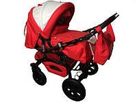 Универсальная коляска-трансформер Trans baby Prado Lux, красный+маталлик