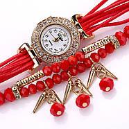 Женские часы браслет с красным ремешком, фото 3