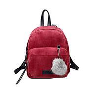 Женский вельветовый рюкзак бордового цвета, фото 2