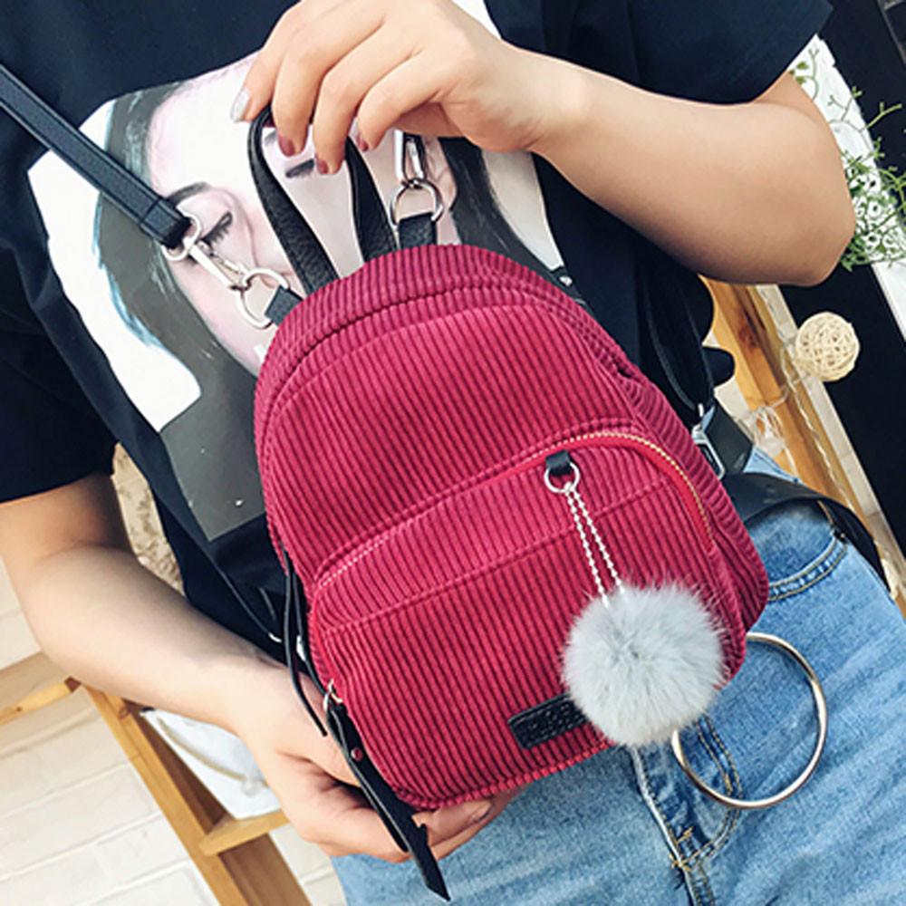 Женский вельветовый рюкзак бордового цвета