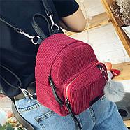 Женский вельветовый рюкзак бордового цвета, фото 3