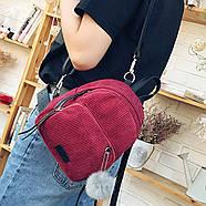 Женский вельветовый рюкзак бордового цвета, фото 4