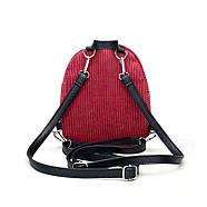 Женский вельветовый рюкзак бордового цвета, фото 5