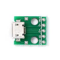 Плата перехідник MicroUSB - DIP, 5pin, 2.54 мм