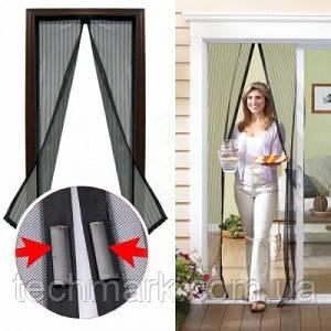 Москитная сетка для дверей Magic mesh на магнитах Антимоскитная сетка, штора 210х100