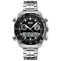 Skmei 1204 direct черные с черным кантом мужские спортивные часы, фото 1