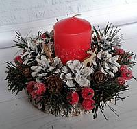 Новогодний подсвечник с хвоей, ягодами и шишками Новогодний декор своими руками