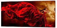 Картина на холсте Декор Карпаты Леди в красном 50х100 см (l458)