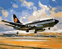 "Картина раскраска по номерам ""Боинг 737 Люфтганза"" на холсте 40х50 см. Babylon VP 828"