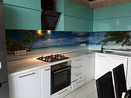 """Кухонный фартук с фотопечатью """"Пальмы на фоне океана"""" 8"""
