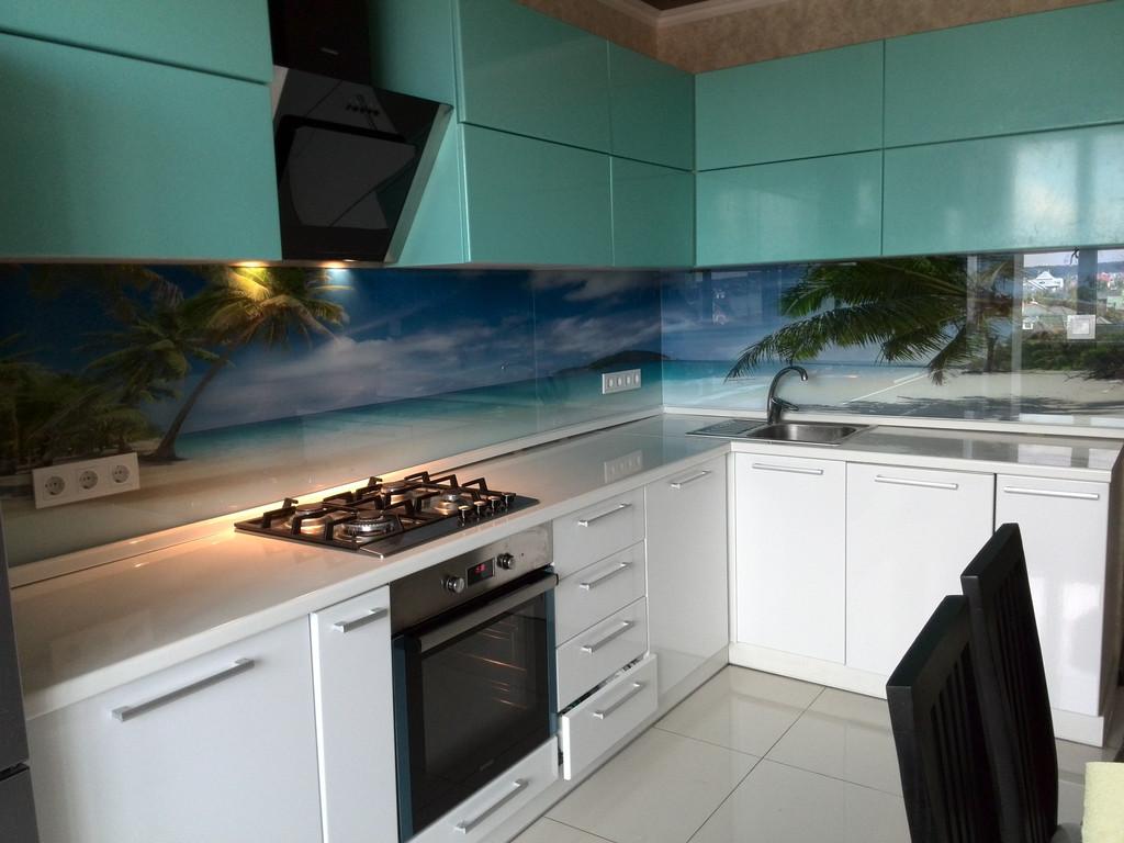 """Кухонный фартук с фотопечатью """"Пальмы на фоне океана"""""""