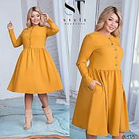 Платье большого размера / костюмная ткань / Украина 17-1281, фото 1