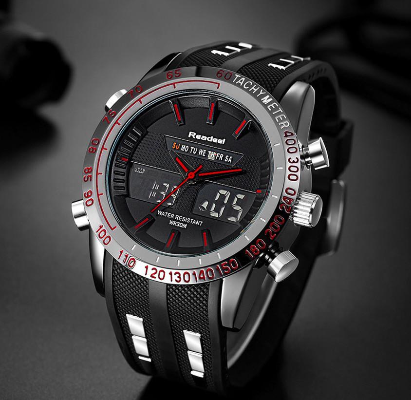 Мужские часы Readeel черные с красным, Чоловічий годинник