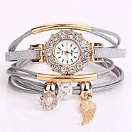 Женские часы браслет с подвесками серый ремешок, фото 2