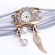 Женские часы браслет с подвесками серый ремешок, фото 3