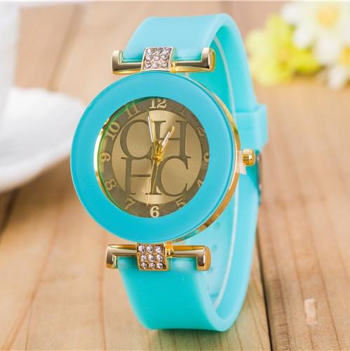 Женские часы CHHC бирюзовые с золотым