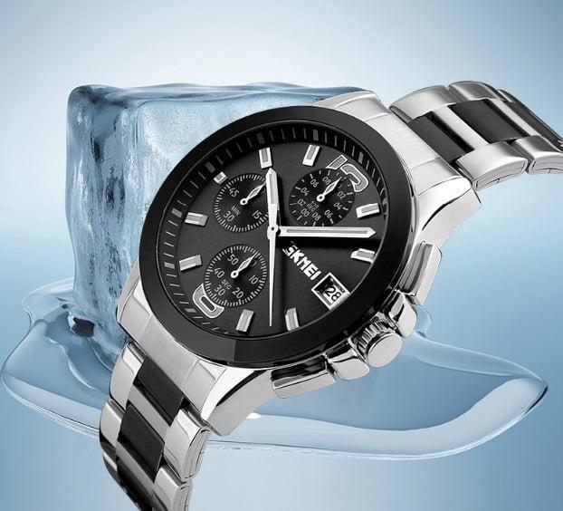 Skmei 9126 серебристые с черным циферблатом мужские классические часы