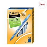 Ручки шариковые синие BIC Round Stic Xtra Life 1.0 мм набор 36 штук для школы и офиса