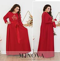 Платье длинное в пол с вышивкой батал (  красный) Размеры: 48-50, 52-54, 56-58, 60-62, 64-66