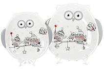 Тарелка керамическая с объемным рисунком Совушки, 19см