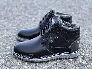 Подростковые кожаные зимние Ботинки Черные