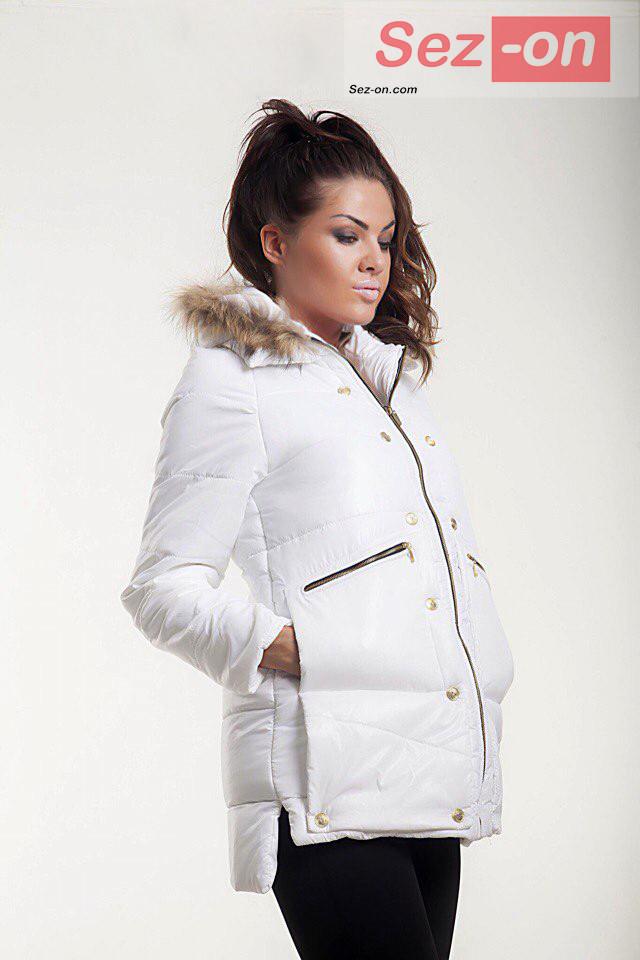 Куртка-парку жіноча MONCLER з натуральним хутром ― Білий