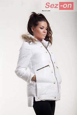 Куртка-парка женская MONCLER с натуральным мехом - Белый