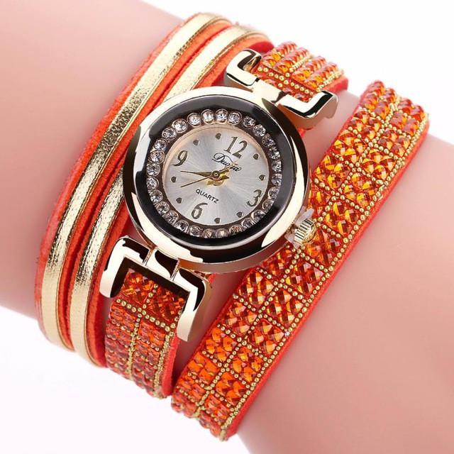 Женские часы браслет с оранжевым браслетом