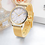 Женские часы Classic под мрамор золотые, жіночий наручний годинник з мраморним циферблатом, фото 2