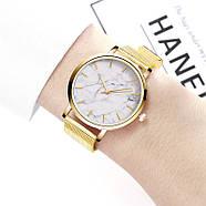 Женские часы Classic под мрамор золотые, жіночий наручний годинник з мраморним циферблатом, фото 3