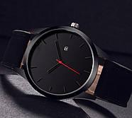 Мужские наручные часы с черным циферблатом и черным ремешком, Чоловічий наручний годинник, фото 2