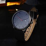 Мужские наручные часы с черным циферблатом и черным ремешком, Чоловічий наручний годинник, фото 3