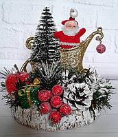 Новогодняя настольная композиция с Дедом Морозом. Новогодний декор своими руками