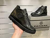 Мужские зимние кожаные ботинки Zangak Black черные натуральная кожа