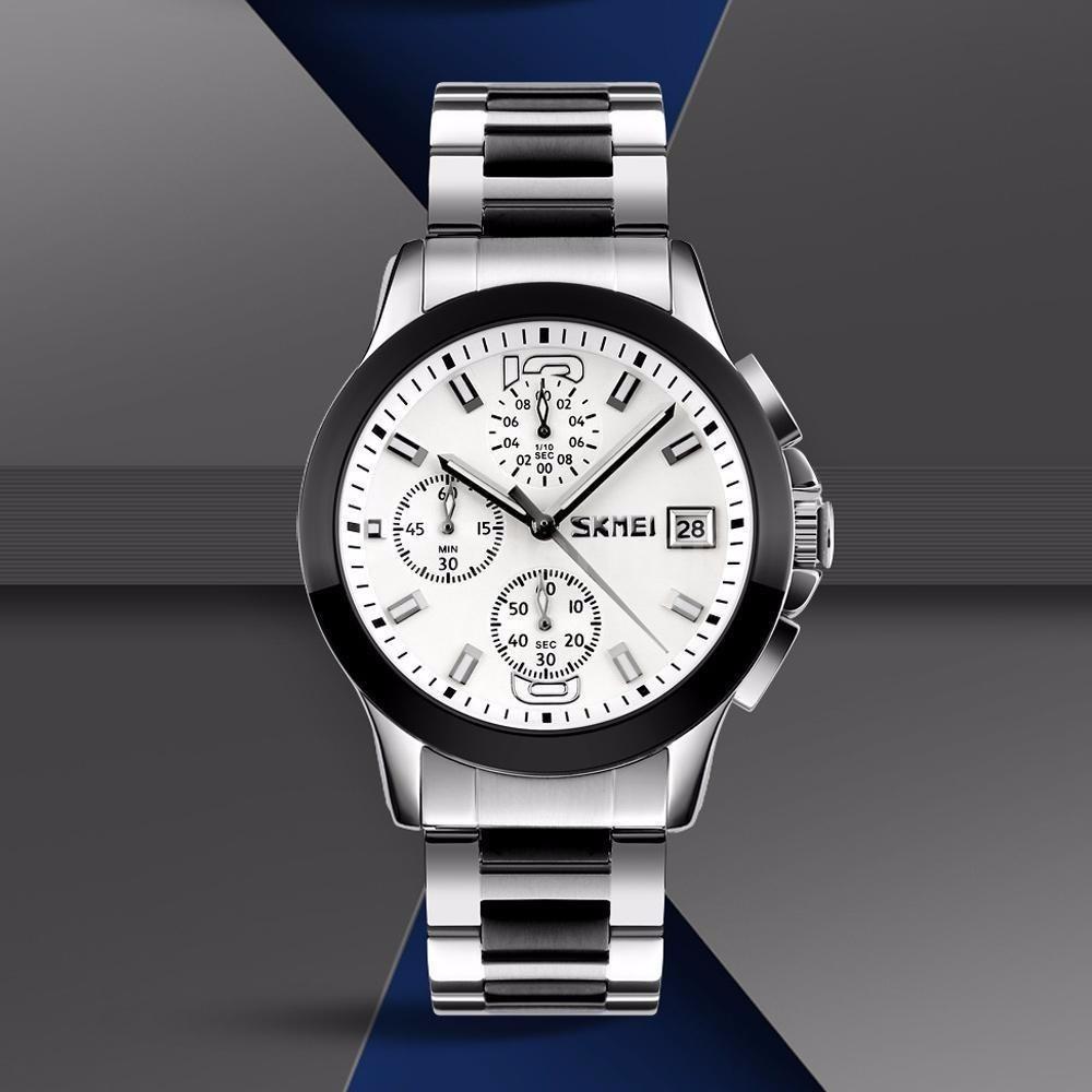 Skmei 9126 серебристые с белым циферблатом мужские  часы