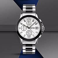 Skmei 9126 серебристые с белым циферблатом мужские  часы, фото 1