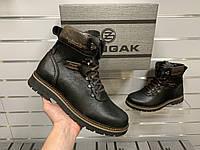 Мужские зимние кожаные ботинки Zangak Black на натуральном меху (цигейка)