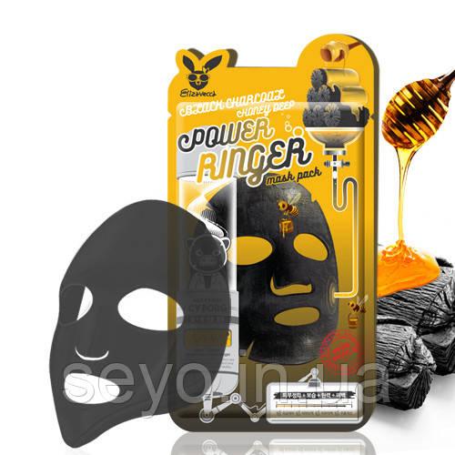 Очищающая питательная маска с древесным углем и медом Elizavecca Black Charcoal Honey Deep Power Ringer Mask
