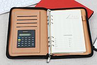 Блокнот папка карманный органайзер на кольцах с калькулятором Leader WB105 лин 92л 14,2*20,8cм кожзам, молния