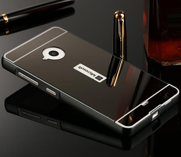 Чехол для Microsoft Lumia 535 (Nokia) Зеркальный черный