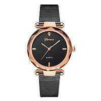 Женские часы Geneva Shine black rose gold, Жіночий наручний годинник, наручные часы Женева