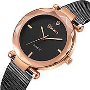 Женские часы Geneva Shine black rose gold, Жіночий наручний годинник, наручные часы Женева, фото 3