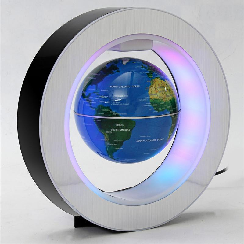 Глобус левитирующий. Парящий в воздухе глобус. летающий глобус с подсветкой. Синий.
