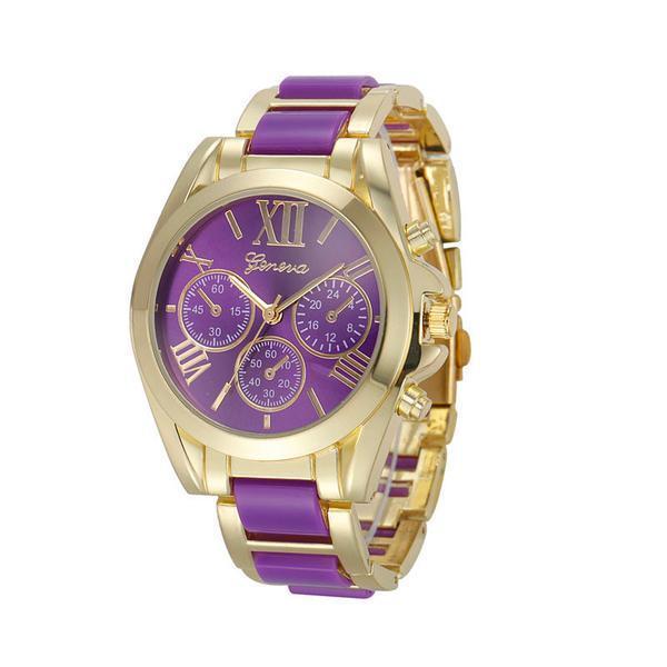 Женские часы Geneva Gold Pearl фиолетовые