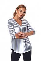 Блузка свободного силуэта в синюю полоску